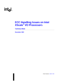 ECC Handling Issues on Intel XScale® I/O Processors: Note