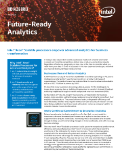 Intel® Xeon® Scalable Processors Empower Advanced Analytics for Business Transformation