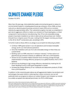 Intel Climate Change Pledge 2015