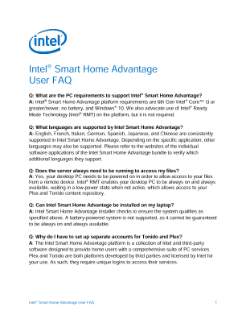 Intel® Smart Home Advantage: User FAQs