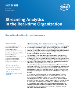 Streaming Analytics in the Real-time Organization