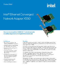 Intel® Ethernet Converged Network Adapter X550 (Intel® Ethernet CNA X550) Product Brief