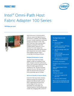 Intel® Omni-Path Host Fabric Adapters 100 Series Product Brief